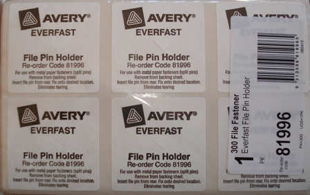 Avery 81996 Everfast File Pin Holder White Box 300