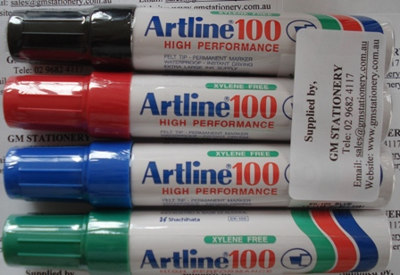 Artline 100 Permanent Ink Markers Assorted Colours Box 6 110041