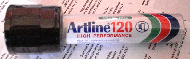 Artline 120 20mm Marker Black Permanent Ink 112001