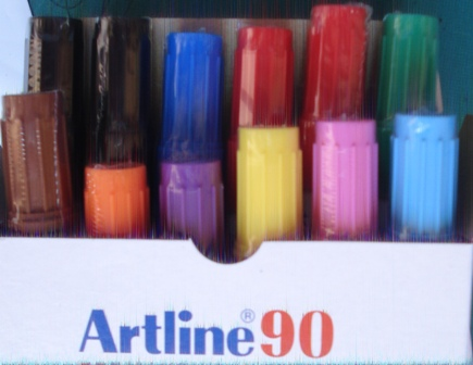 Artline 109041 90 Assorted Permanent Markers Box 12 - 10 Colours
