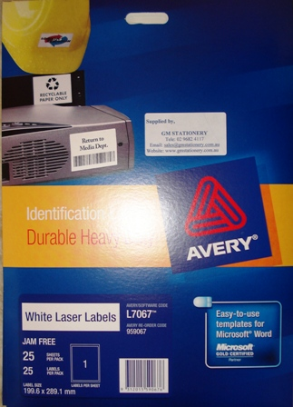 Avery 959067 White Laser Label 199.6x289.1mm L7067 1 per page