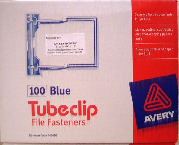 Avery Tubeclip 44009B File Fastener Blue Box 100