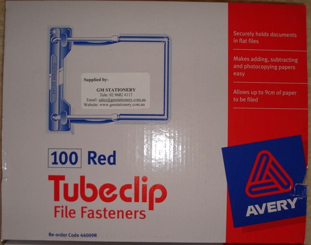 Avery Tubeclip 44009R File Fastener Red Box 100