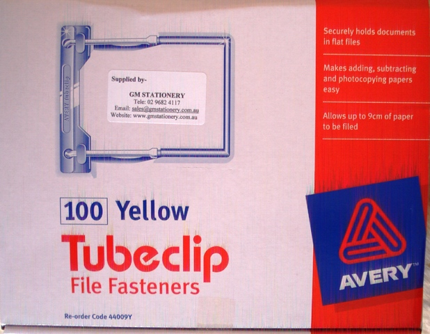 Avery Tubeclip 44009Y File Fastener Yellow Box 100