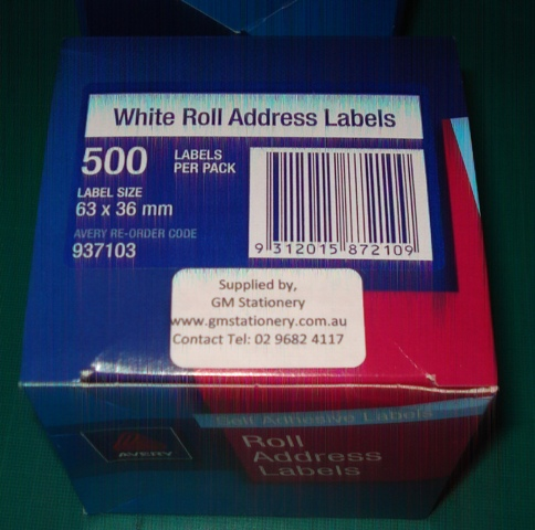 Avery 937103 63 x 36mm Address Label 500 Per Roll