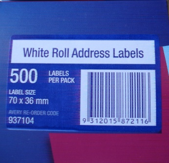 Avery 937104 70 x 36mm Address Label 500 Per Roll
