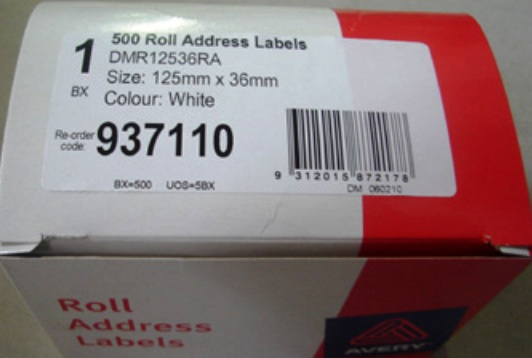 Avery 937110 125 x 36mm Address Label 500 Per Roll
