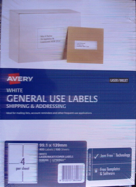 Avery 938206 L7169GU White Laser Label 99.1x139mm Box 400