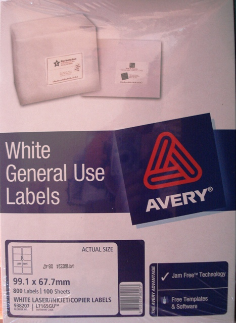 Avery 938207 L7165GU White Laser Label size 99.1x67.7mm Box 800