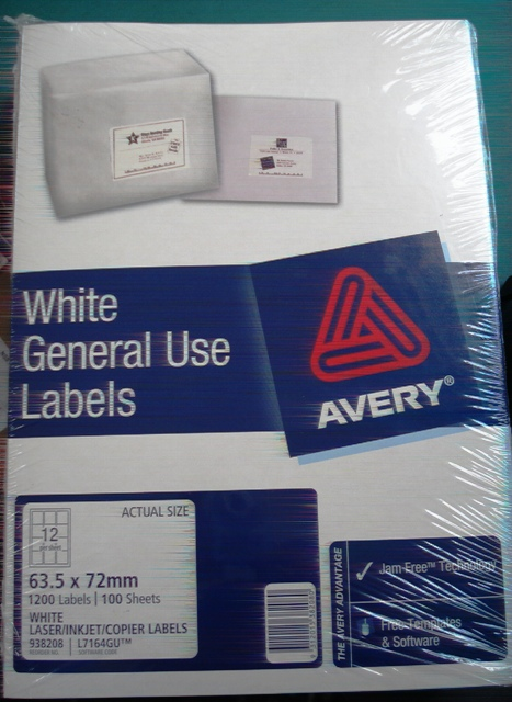Avery 938208 L7164GU White Laser Label size 63.5x72mm Box 1200