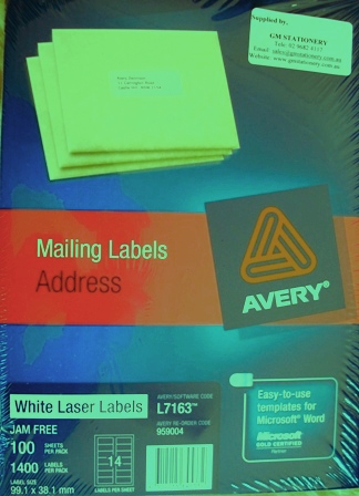 Avery 959004 Label L7163-100 99.1 x 38.1mm Box 100