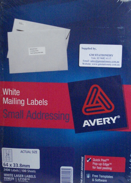 Avery 959029 Label L7159 100 64 X 338mm Box100 Avery 959029 Mailing