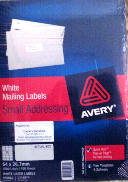 Avery 959062 Label L7158-100 64 x 26.7mm Box 100
