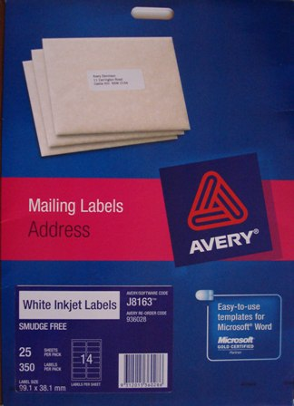 Avery 936044 J8163-50 Inkjet Label Address 14 per sheet Box700