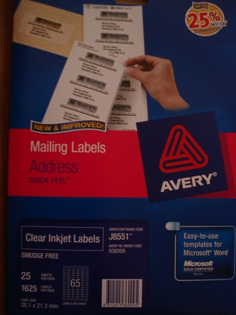 Avery 936009 Clear Inkjet Label Mini 38.1 x 21.2mm J8551-25