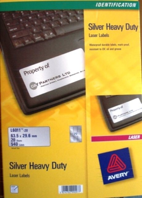Avery 959202 Silver Laser labels 63.5x29.6mm L6011-20