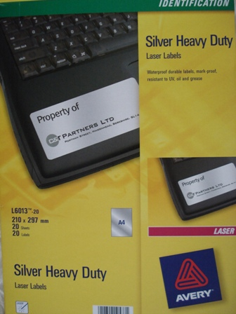 Avery 959204 Silver Laser Labels 297x210mm L6013-20