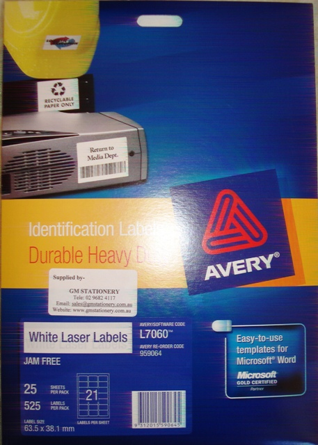 Avery 959064 White Laser Label 63.5x38.01mm L7060-25