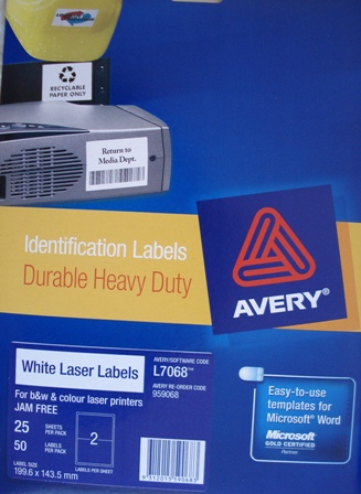 Avery 959068 White Laser Label 199.6x143.5mm L7068 2 per page