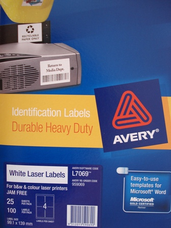 Avery 959069 White Laser Labels 99.1x139mm L7069 4 per page