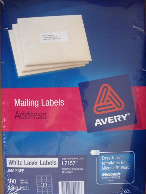 AVERY- MAILING LASER LABELS