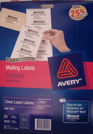 Avery 959022 Clear Laser Label Mini Address L7551-25