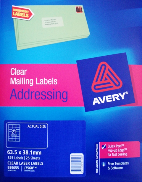 Avery 959055 Clear Laser Label Address 63.5 x 38.1mm L7560-25