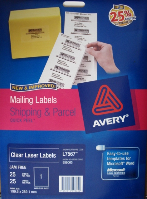Avery 959065 Clear Laser Label 199.6 x 289.1mm L7567-25