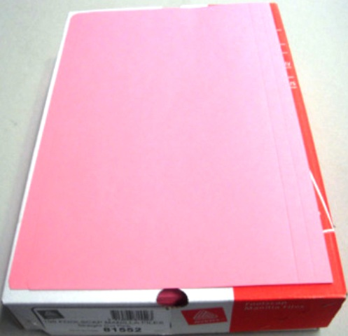 Avery 81552 Pink Manilla Folder Foolscap Box 100