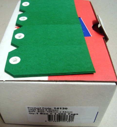 Avery 14130 Shipping Tags Size 4 Green 108x54mm Box 1000