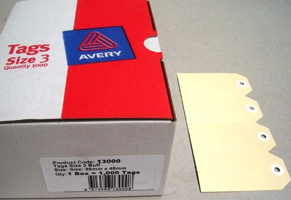 Avery 13000 Shipping Tags Size 3 Buff 96 x 48mm Box 1000