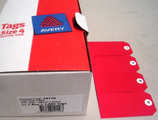 Avery 14110 Shipping Tags Size 4 Red 108 x 54mm Box 1000