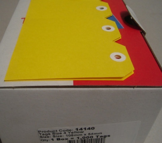 Avery 14140 Shipping Tags Size 4 Yellow 108 x 54mm Box 1000