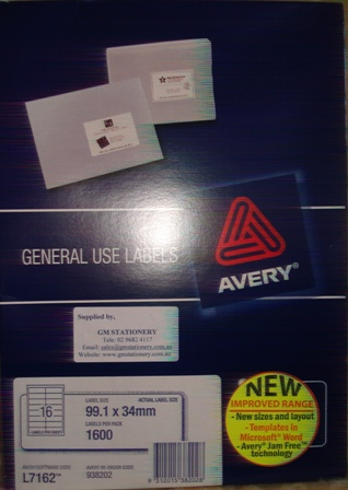 Avery 938202 L7162GU White Laser Label size 99.1x34mm Box 1600