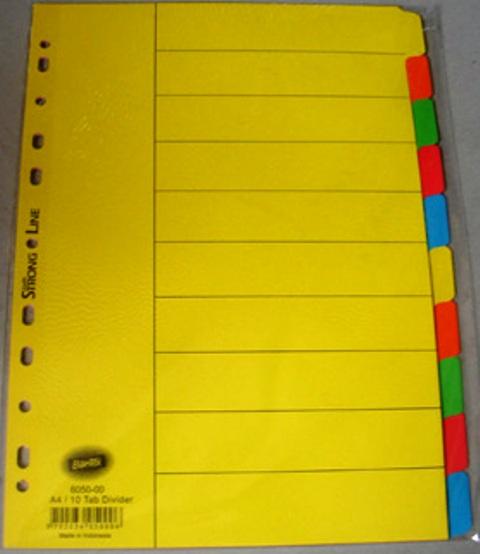 Bantex 6050-00 A4 10 Tab Coloured Divider Set Manilla Bantex