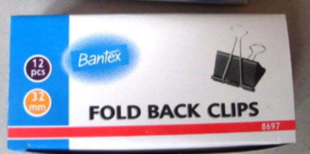 Bantex 8697 32mm No 3 Foldback Clips Box 12