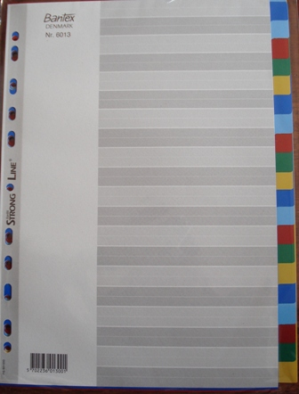 Bantex 6013 A4 20 Tab Coloured Divider Set PVC