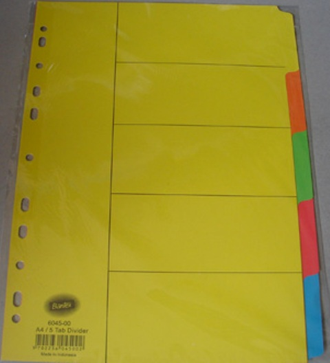 Bantex 6045-00 A4 5Tab Coloured Divider Set Manilla