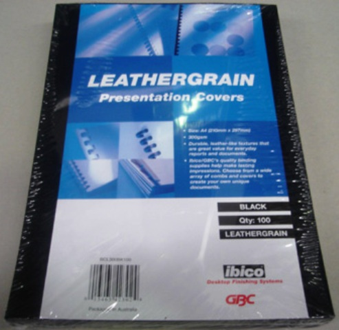 GBC 300gsm Leathergrain Binding Cover A4 Black BCL300BK100