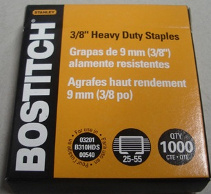 "Bostitch SB35 3/8"" - 9mm Staples Box 1000 - Free Ship."