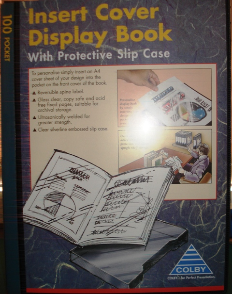 Colby 245A 100 Pocket A4 Display Book Insert Front Cover Black