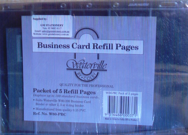 Waterville W80 PBC Business Card Refills A4 Pkt5 W80-PBC