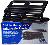 Colby KW963 Adjustable Punch 3 Hole Heavy Duty Black 32 sheet
