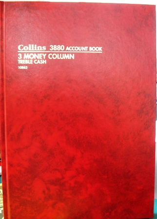 Collins 10863 3880 Treble Cash 3MC Account Book 84 leaf A4 Red