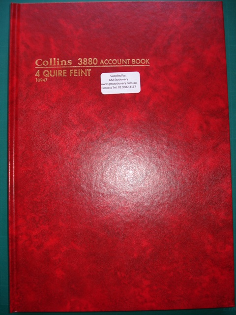 Collins10947 3880 4 Quire Feint Account Book - Free Delivery.