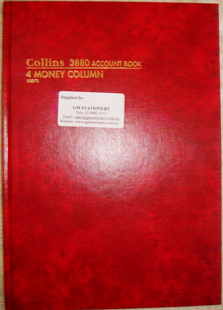 Collins 10870 3880 4 Money Column Account Book 84 leaf A4 Red