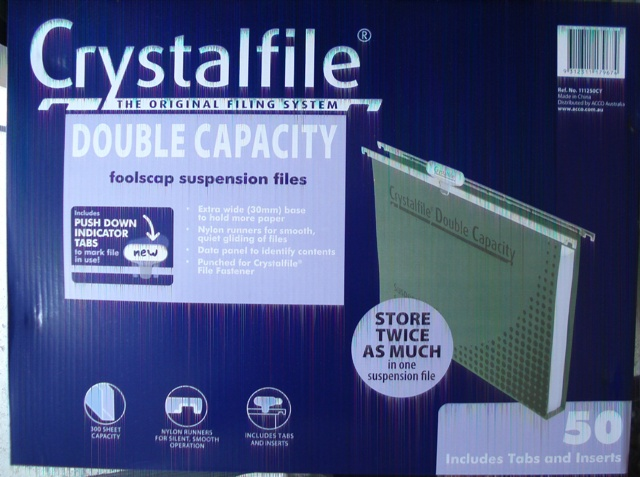 111250CY Crystalfile Double Capacity Suspension Folders Box 50