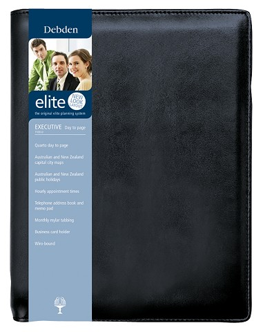 Debden 1100-U99 2020 Diary Elite Quarto Day to a Page Black