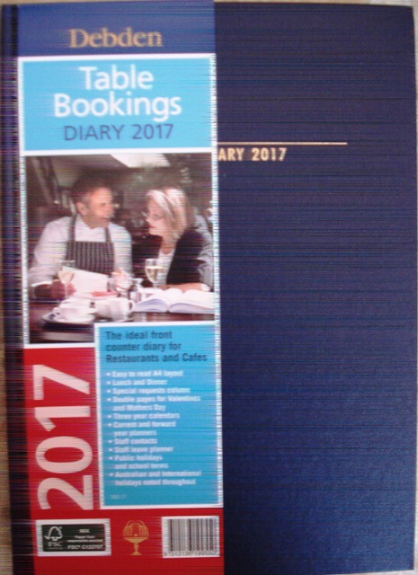 Debden 2017 Table Bookings Diary A4 2 Pages to a Day