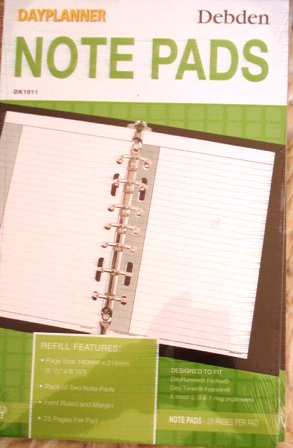 Debden DK1011 Dayplanner Note Pad Refill 2pack